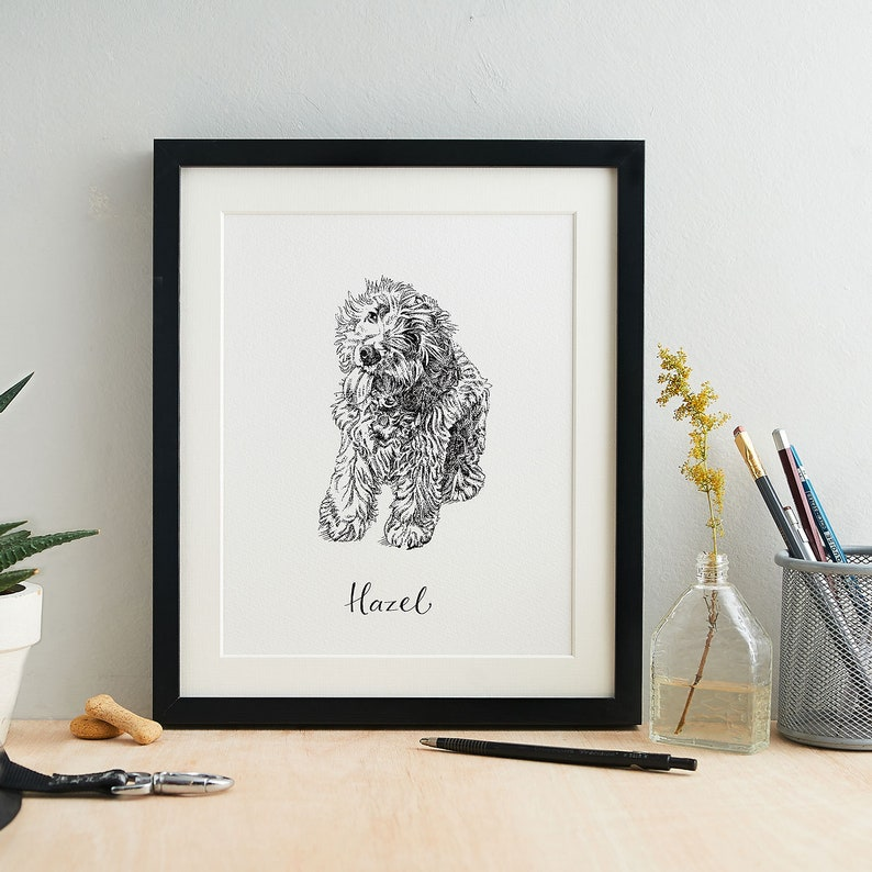 Personalised Pen and Ink Pet Portrait with Name