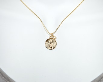 Mini Scalloped Gold Filled Our Father Lord's Prayer necklace