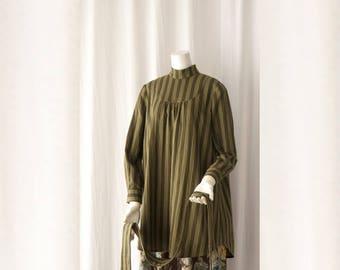 Akinohi High Collar Blouse Dress PDF Sewing Pattern for Women