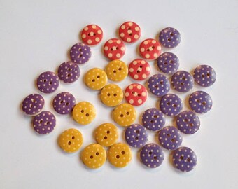 Painted Wooden Buttons. 15mm Buttons. Assortment of 35 Pink, Yellow and Purple Polka Dot Buttons. Handmade Wooden Buttons. Polka Dot Buttons