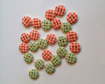 Painted Wooden Buttons. 15mm Buttons. Assortment of 24 Pink and Blue Gingham Check Buttons. Handmade Wooden Buttons. Gingham Check Buttons.