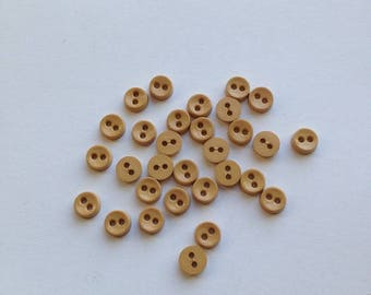 6mm Tan Buttons. 30 Buttons. Two Hole Buttons. 6mm Plastic Buttons. Tiny Buttons. Micro Buttons. Mini Buttons. 2 Hole Buttons. Doll Buttons.