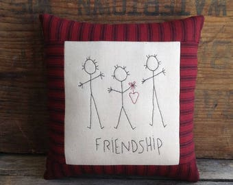 Friendship Pillow. Friendship Gift. Best Friend Gift. BFF Gift. Small Pillow. Handmade Gift. Hand drawn. Hand-stitched. Hand Embroidery.