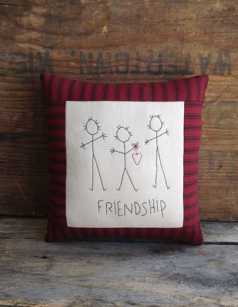 Friendship Pillow Vintage Fabric Best Friend Gift Etsy