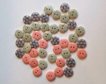 Painted Wooden Buttons. 15mm Buttons. Assortment of 44 Pink and Blue Buttons w/Red & Cream Dots. Handmade Wooden Buttons. Polka Dot Buttons.