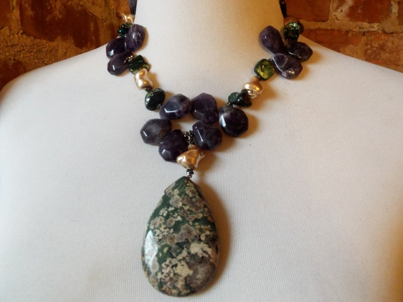 Amethyst and Mother of Pearl Statement Necklace Chunky Bold Picture Jasper