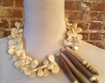 Tan Coral & Sea Urchin Shell Statement Necklace
