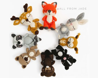 CROCHET PATTERNS : Collection Woodland Animals (English and French)