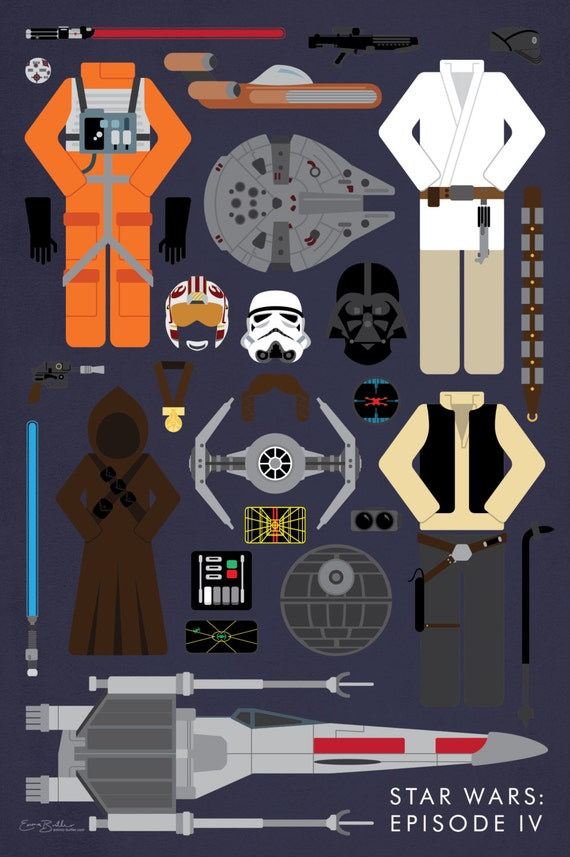 Star Wars Episode Iv Movie Parts Poster Etsy