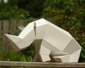 Sitting Rhino Paper Sculpture DIY papercraft set, foldable paper animal, Paperwolf geometric polygon look, animal cardboard statuette