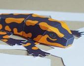Salamander papercraft kit in black and yellow. DIY salamander for children, pdf digital download ebook