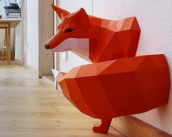Little Fox Design Sculpture, DIY, Paperwolf kit geometric fox sculpture, cut and perforated pieces for convenient assembly