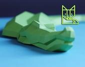 Crocodile Desk Diver, paper alligator, swimming croc, geometric, polygonal, origami papercraft animal, slowing down everyday life