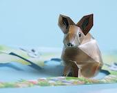 Postcard easter rabbit, little brown bunny on a card. mini papercraft kit. Postcard Size: 210x105mm art edition