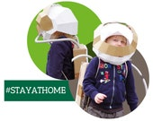 Astronaut Helmet laser-cut papercraft project, costume astronaut, lock-down stay-at-home, family project for kids