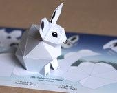 Postcard Snow Hare, little snow bunny on a card. mini papercraft kit. Postcard Size: 210x105mm