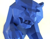 Jumping Jaguar, half out of the wall, papercraft kit designed by Paperwolf. Unique design piece for your home