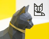 Black Cat Papercraft kit, PREMIUM Version with gold applications. Egypt Cat Goddess Bastet