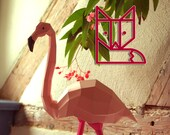 Flamingo Papercraft Kit, pink flamingo geometric paper sculpture, DIY 3D paper animal
