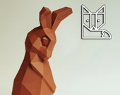 Shy rabbit, paper sculpture DIY Bunny, Rabbit Sculpture, papercraft bunny by paperwolf in polygonal style, chocolate bunny
