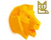 DIY papercraft template Lion Trophy head no. 4, 3D puzzle