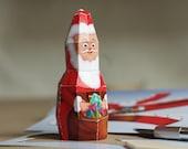 Santaclaus DIY papercraft kit on Flyer, Saint Nicholas Paperwolf Postcard Size: 210x105mm
