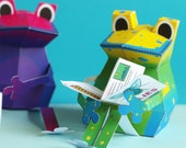 Colorful Frogs Papercraft Kit for children, pdf digital instant download ebook
