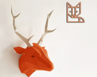 Original Papercraft kit Deer, Paper Sculpture Paperwolf