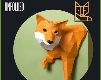 Little Fox Design Sculpture, DIY papercraft kit by Paperwolf