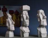 Easter Island Moai Statue, Papercraft kit by Paperwolf, 3 Rapa Nui Figurines
