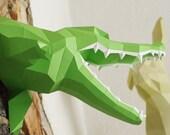 Crocodile DIY Wall sculpture, paper alligator, croc trophy teeth, geometric, polygonal origami papercraft animal, slowing down everyday life