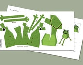 """Postcard """"Mini Frog"""" DIY papercraft template, Size: 210x105mm Happy Frog"""