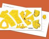 "Postcard ""Mini Lion"" DIY papercraft template, Size: 210x105mm"