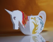 Unicorn Lantern, papercraft kit. DIY kit Paper Lantern, Martin Procession, lantern parade. Make your own unicorn, paint yourself