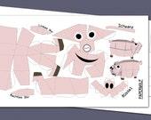 "Postcard ""Mini piglet"" DIY papercraft template, Size: 210x105mm Happy Piggy"