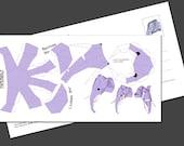 "Postcard ""Mini Elephant"" DIY papercraft template,"