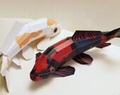 """Ebook Papercraft Kit """"Koi Hi Utsuri"""" carp pdf, fishes papercraft"""