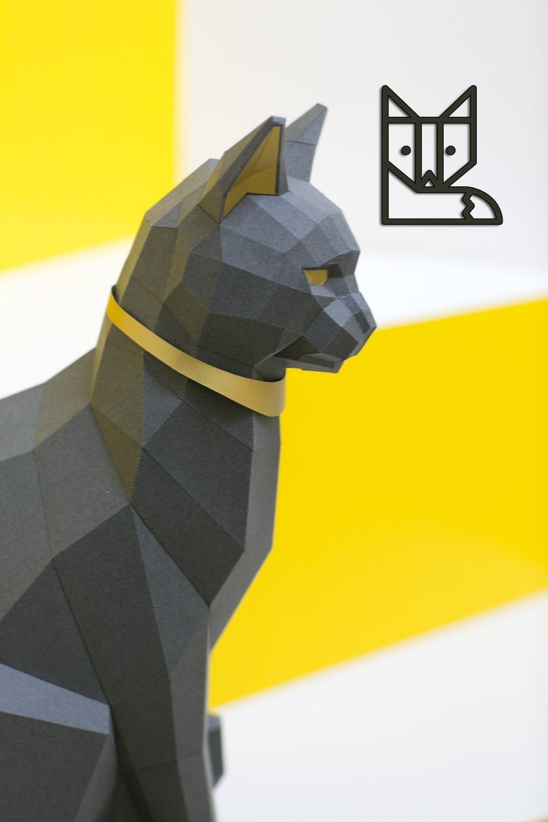 Black Cat Papercraft kit PREMIUM Version with gold image 0