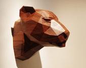 Wooden Leopard Head, Precious Oiled Black Walnut Sculpture, Geometric Design. Limited Edition