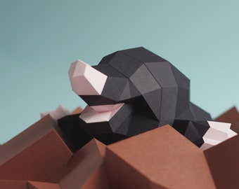 Happy Mole, papercraft kit by Paperwolf. Funny molehill, a cubic paper sculpture