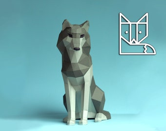 The Paper Wolf. Sitting Wolf by Paperwolf.  Friendly, child-friendly paper sculpture