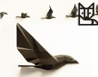 Paperwolf Flight of Birds Papercraft kit, Paper sculpture, 5 Birds PREMIUM