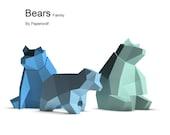 Bears Family Papercraft Kit PRINTED VERSION