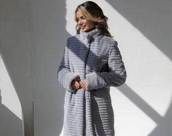 Winter faux rabbit fur coat