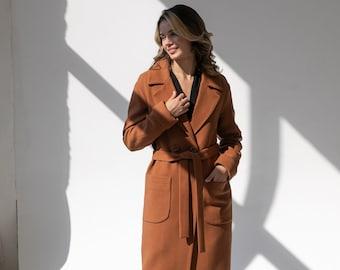 Demi-season wool midi coat with patch pockets
