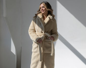 Universal fur coat made of trendy fabric - eco-fur Teddy