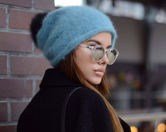 0f788d806a3 Angora knit hat Winter slouchy hat Gift for her Winter hat Oversized knitted  hat Fur pompom beanie Women hats Fur pompom hat Valentines gift