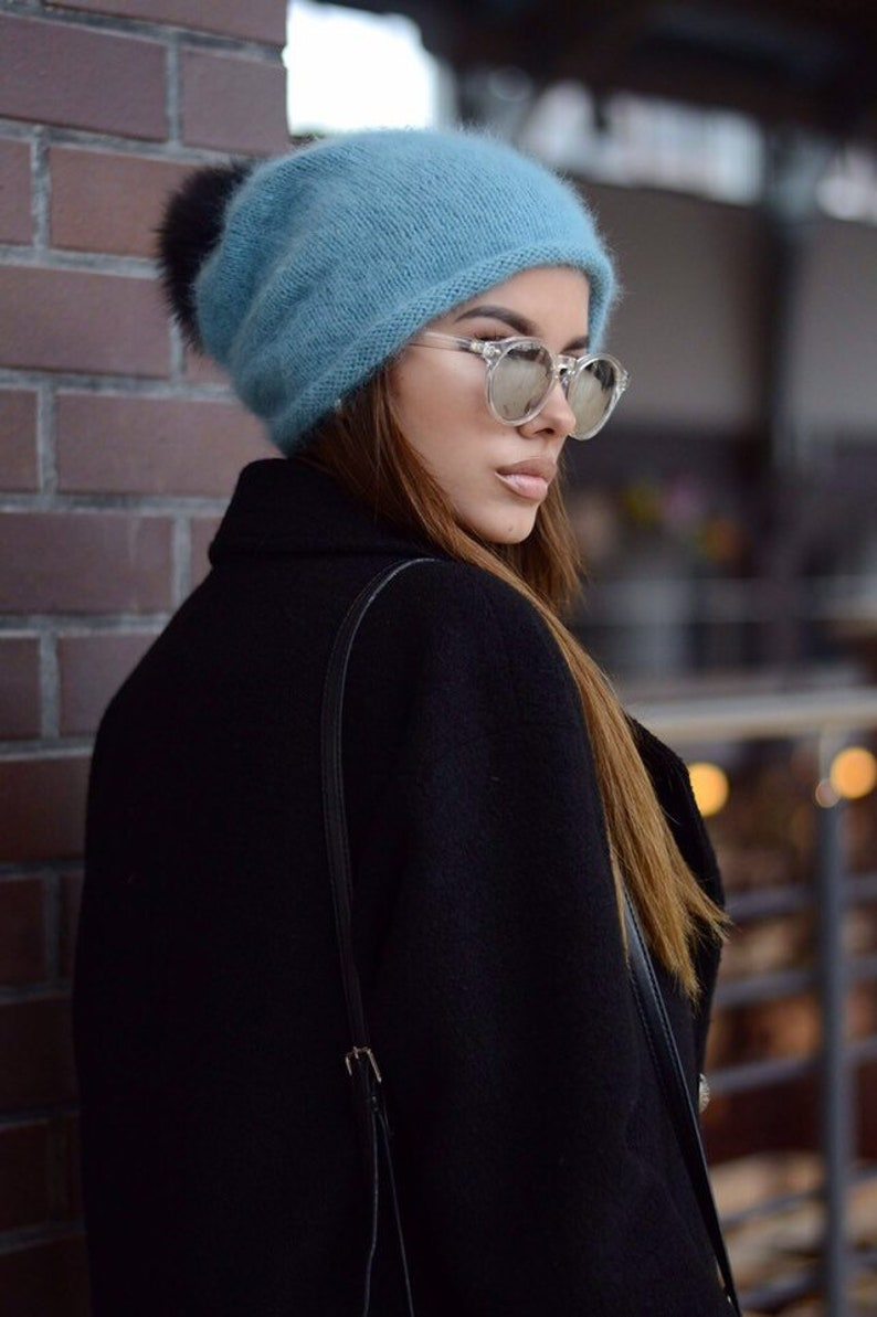 47f8d386fdc Angora knit hat Winter slouchy hat Gift for her Winter hat