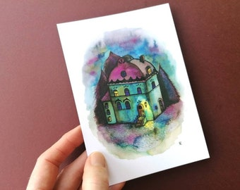 Blue House. Notecard+envelope, whimsical watercolour &ink  illustration. Imaginary house, magical,tree.