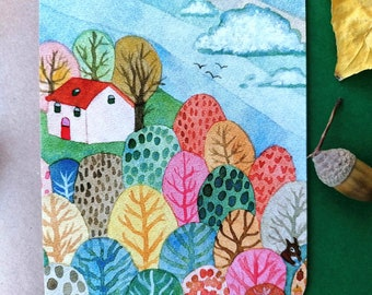 House on forrest hill, notecard of a colorful watercolour illustration with a vintage feeling+envelope.  Art by Esther Lankhaar